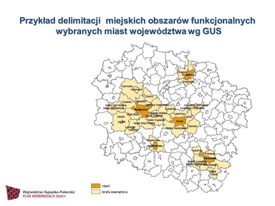 Przykład delimitacji miejskich obszarów funkcjonalnych wybranych miast województwa wg GUS