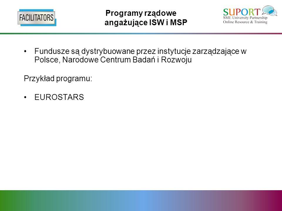 Programy rządowe angażujące ISW i MSP Fundusze są dystrybuowane przez instytucje zarządzające w Polsce, Narodowe Centrum Badań i Rozwoju Przykład programu: EUROSTARS