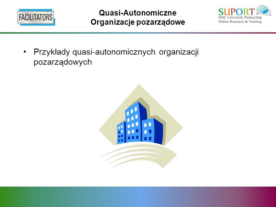 Quasi-Autonomiczne Organizacje pozarządowe Przykłady quasi-autonomicznych organizacji pozarządowych