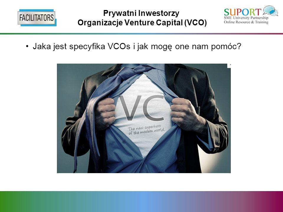 Prywatni Inwestorzy Organizacje Venture Capital (VCO) Jaka jest specyfika VCOs i jak mogę one nam pomóc?
