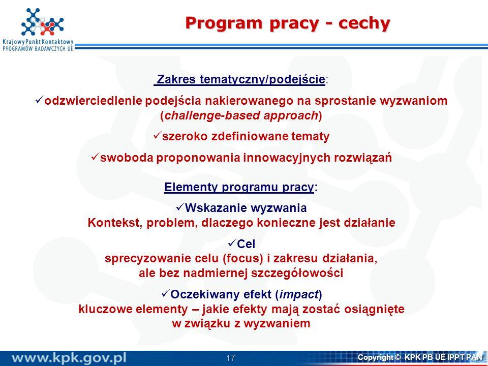 17 Copyright © KPK PB UE IPPT PAN Program pracy - cechy Zakres tematyczny/podejście: odzwierciedlenie podejścia nakierowanego na sprostanie wyzwaniom
