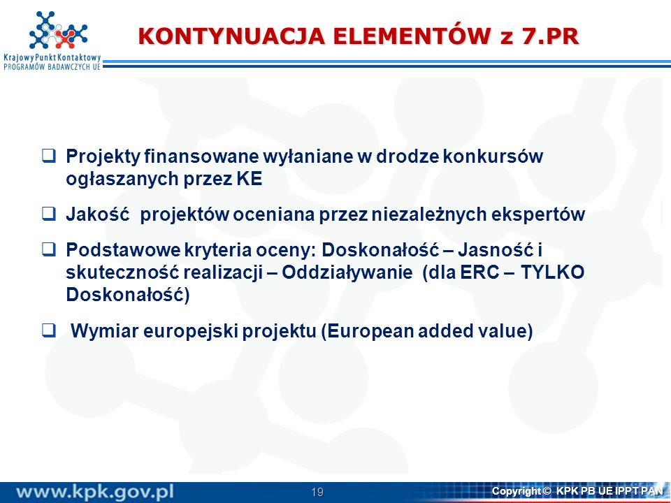 19 Copyright © KPK PB UE IPPT PAN KONTYNUACJA ELEMENTÓW z 7.PR Projekty finansowane wyłaniane w drodze konkursów ogłaszanych przez KE Jakość projektów
