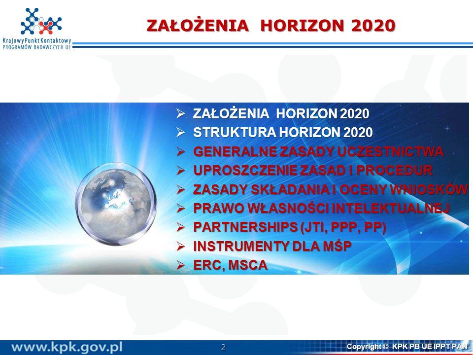3 Copyright © KPK PB UE IPPT PAN Programy ramowe WE/UE narzędzie wzmacniania konkurencyjności UE na świecie instrument finansowy wspierania badań i innowacji na poziomie unijnym instrument wdrażania strategii rozwoju UE (H2020 - strategii Europa 2020, w tym inicjatywy flagowej Unia Innowacji) Horizon 2020