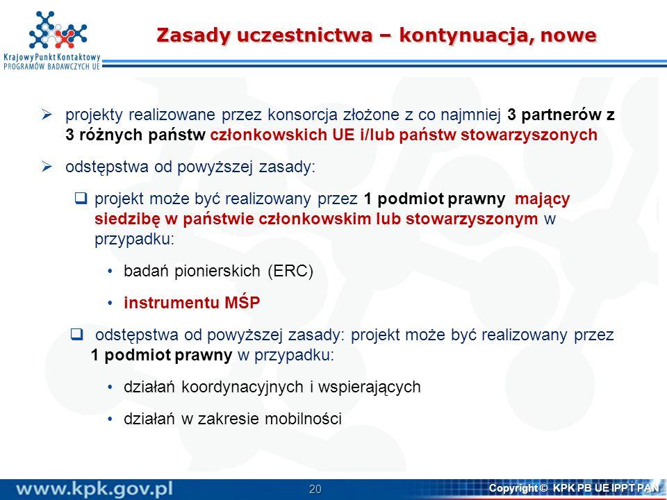 20 Copyright © KPK PB UE IPPT PAN Zasady uczestnictwa – kontynuacja, nowe projekty realizowane przez konsorcja złożone z co najmniej 3 partnerów z 3 r