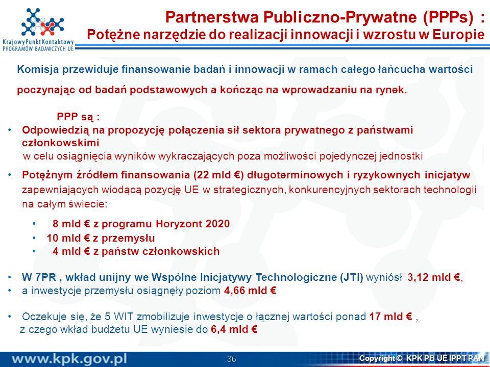36 Copyright © KPK PB UE IPPT PAN Komisja przewiduje finansowanie badań i innowacji w ramach całego łańcucha wartości poczynając od badań podstawowych