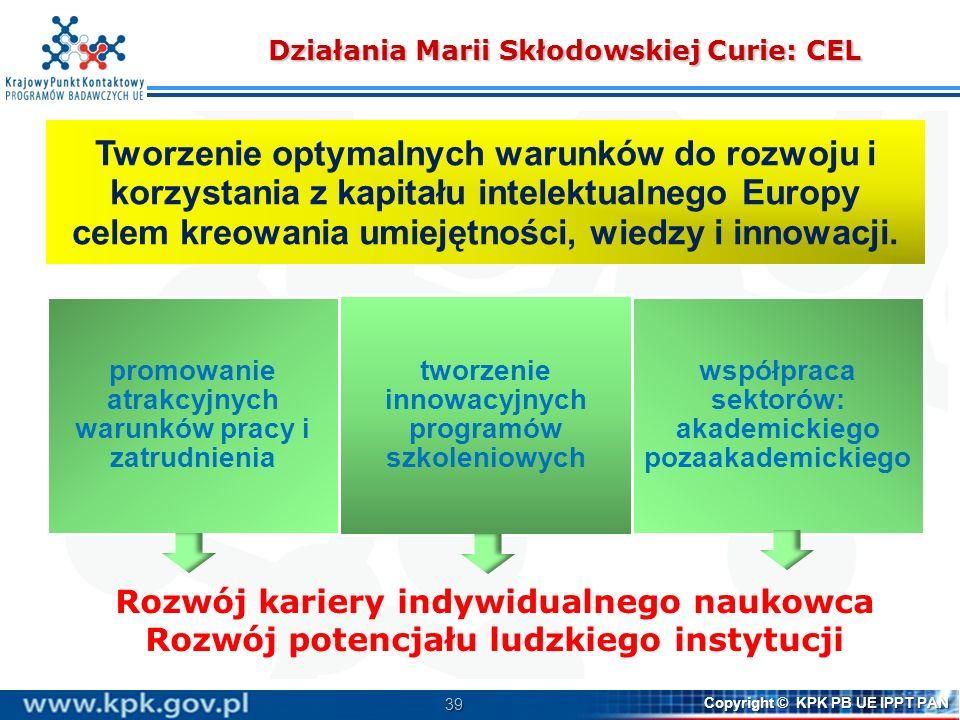 39 Copyright © KPK PB UE IPPT PAN Działania Marii Skłodowskiej Curie: CEL Tworzenie optymalnych warunków do rozwoju i korzystania z kapitału intelektu