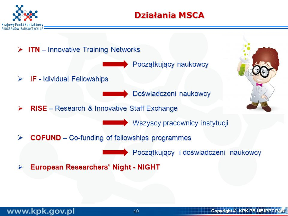 40 Copyright © KPK PB UE IPPT PAN Działania MSCA ITN – Innovative Training Networks ITN – Innovative Training Networks Początkujący naukowcy IF - Idiv