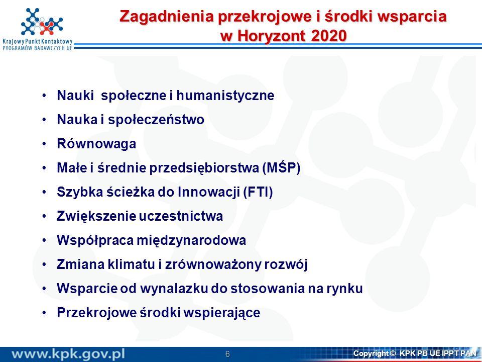 6 Copyright © KPK PB UE IPPT PAN Zagadnienia przekrojowe i środki wsparcia w Horyzont 2020 Nauki społeczne i humanistyczne Nauka i społeczeństwo Równo