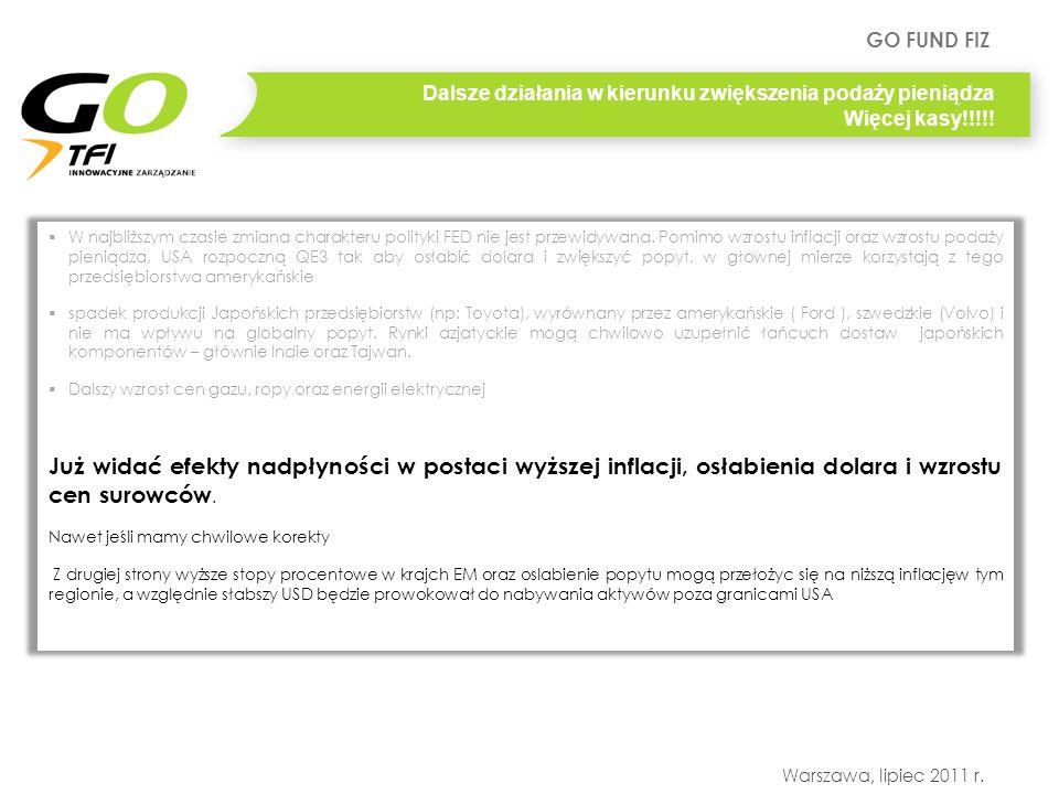 GO FUND FIZ Warszawa, lipiec 2011 r. Dalsze działania w kierunku zwiększenia podaży pieniądza Więcej kasy!!!!! W najbliższym czasie zmiana charakteru