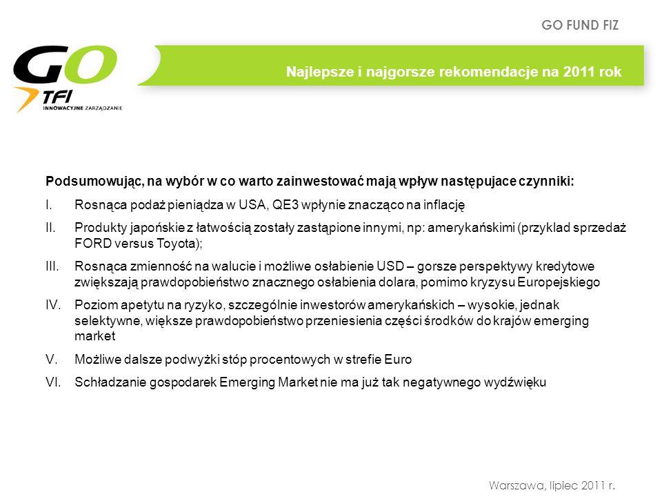 GO FUND FIZ Warszawa, lipiec 2011 r. Najlepsze i najgorsze rekomendacje na 2011 rok Podsumowując, na wybór w co warto zainwestować mają wpływ następuj