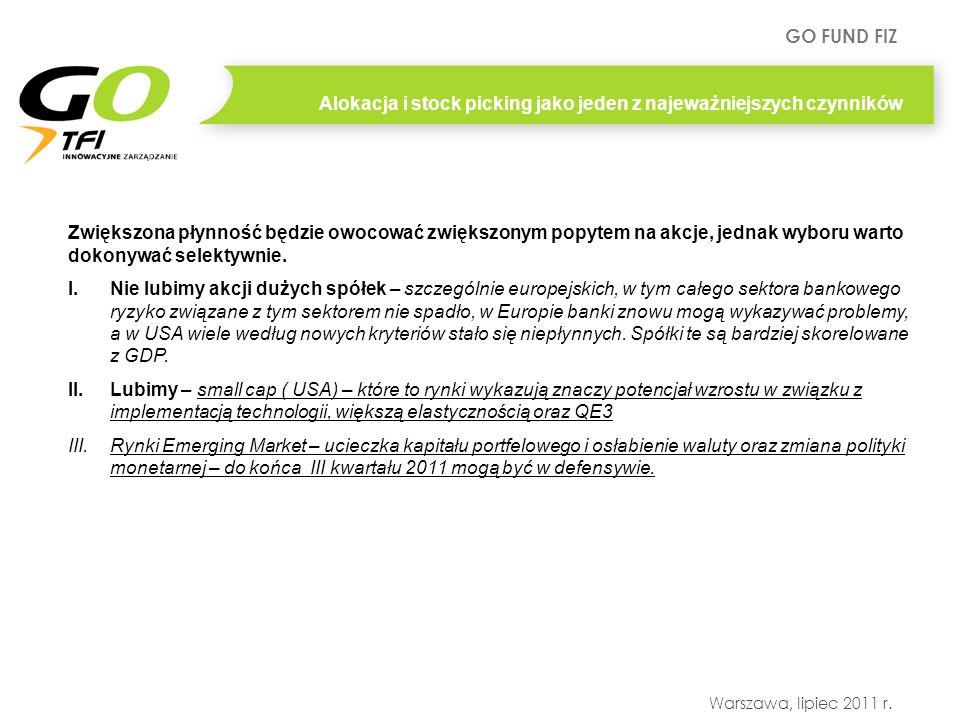 GO FUND FIZ Warszawa, lipiec 2011 r. Alokacja i stock picking jako jeden z najeważniejszych czynników Zwiększona płynność będzie owocować zwiększonym