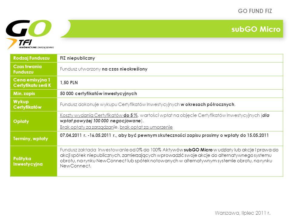 GO FUND FIZ Warszawa, lipiec 2011 r. Rodzaj FunduszuFIZ niepubliczny Czas trwania Funduszu Fundusz utworzony na czas nieokreślony Cena emisyjna 1 Cert