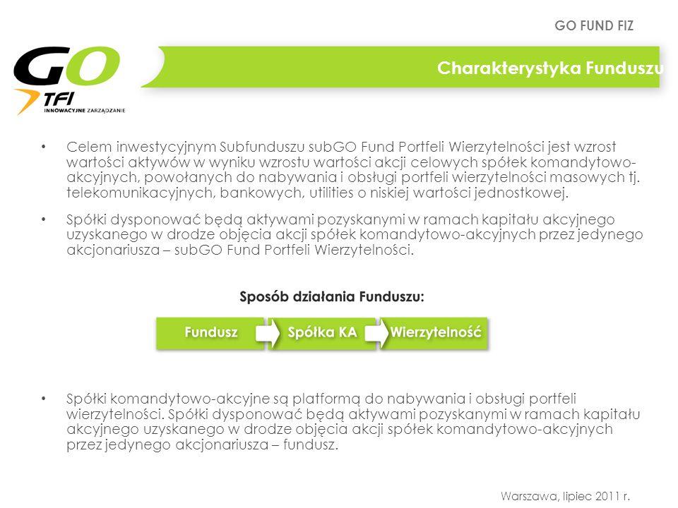 GO FUND FIZ Warszawa, lipiec 2011 r. Charakterystyka Funduszu Celem inwestycyjnym Subfunduszu subGO Fund Portfeli Wierzytelności jest wzrost wartości