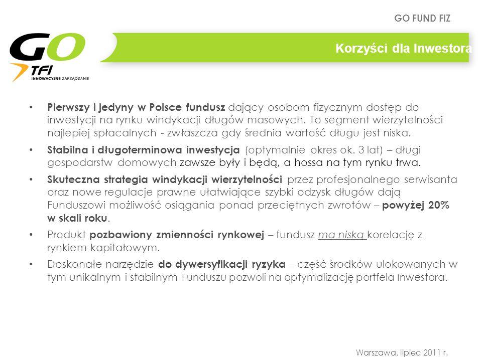 GO FUND FIZ Warszawa, lipiec 2011 r. Korzyści dla Inwestora Pierwszy i jedyny w Polsce fundusz dający osobom fizycznym dostęp do inwestycji na rynku w