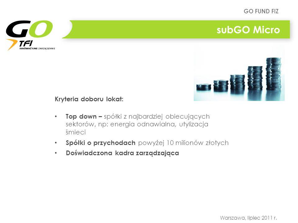 GO FUND FIZ Warszawa, lipiec 2011 r. subGO Micro Kryteria doboru lokat: Top down – spółki z najbardziej obiecujących sektorów, np: energia odnawialna,