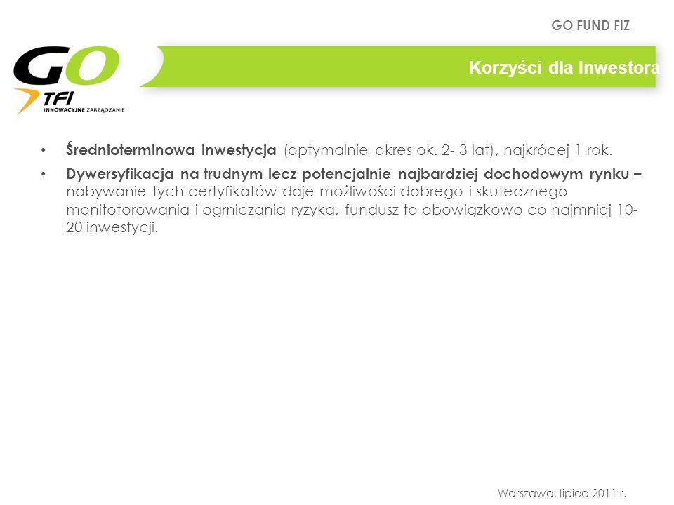 GO FUND FIZ Warszawa, lipiec 2011 r. Korzyści dla Inwestora Średnioterminowa inwestycja (optymalnie okres ok. 2- 3 lat), najkrócej 1 rok. Dywersyfikac