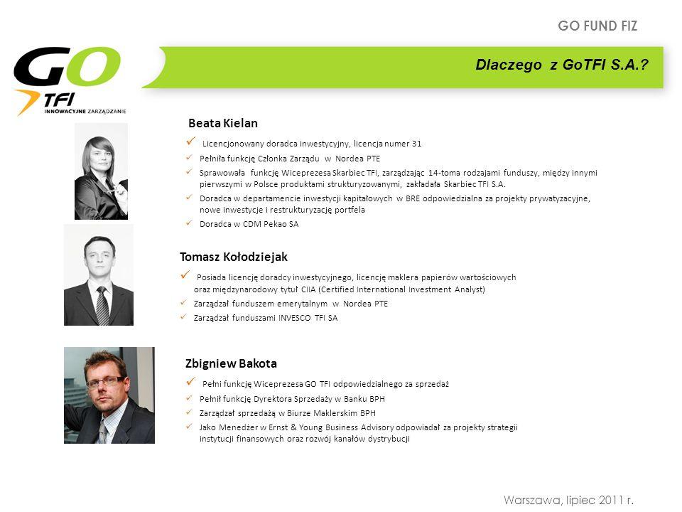 GO FUND FIZ Warszawa, lipiec 2011 r. Dlaczego z GoTFI S.A.? Beata Kielan Licencjonowany doradca inwestycyjny, licencja numer 31 Pełniła funkcję Członk