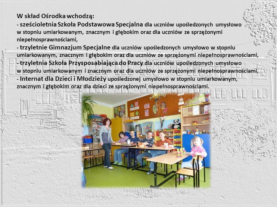 W skład Ośrodka wchodzą: - sześcioletnia Szkoła Podstawowa Specjalna dla uczniów upośledzonych umysłowo w stopniu umiarkowanym, znacznym i głębokim or