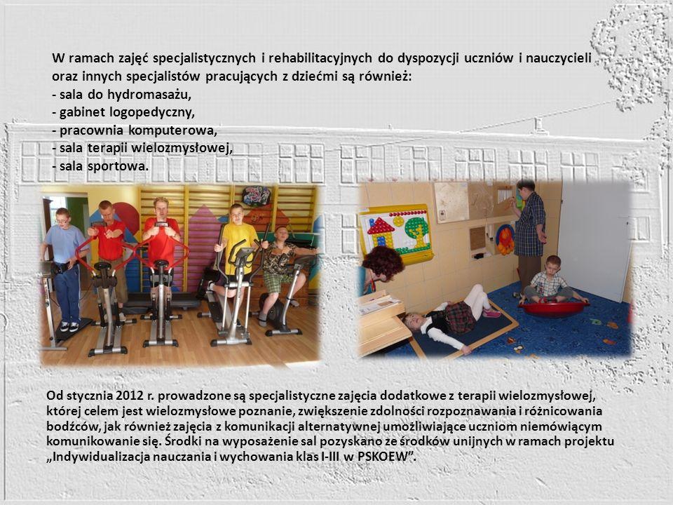 W ramach zajęć specjalistycznych i rehabilitacyjnych do dyspozycji uczniów i nauczycieli oraz innych specjalistów pracujących z dziećmi są również: -