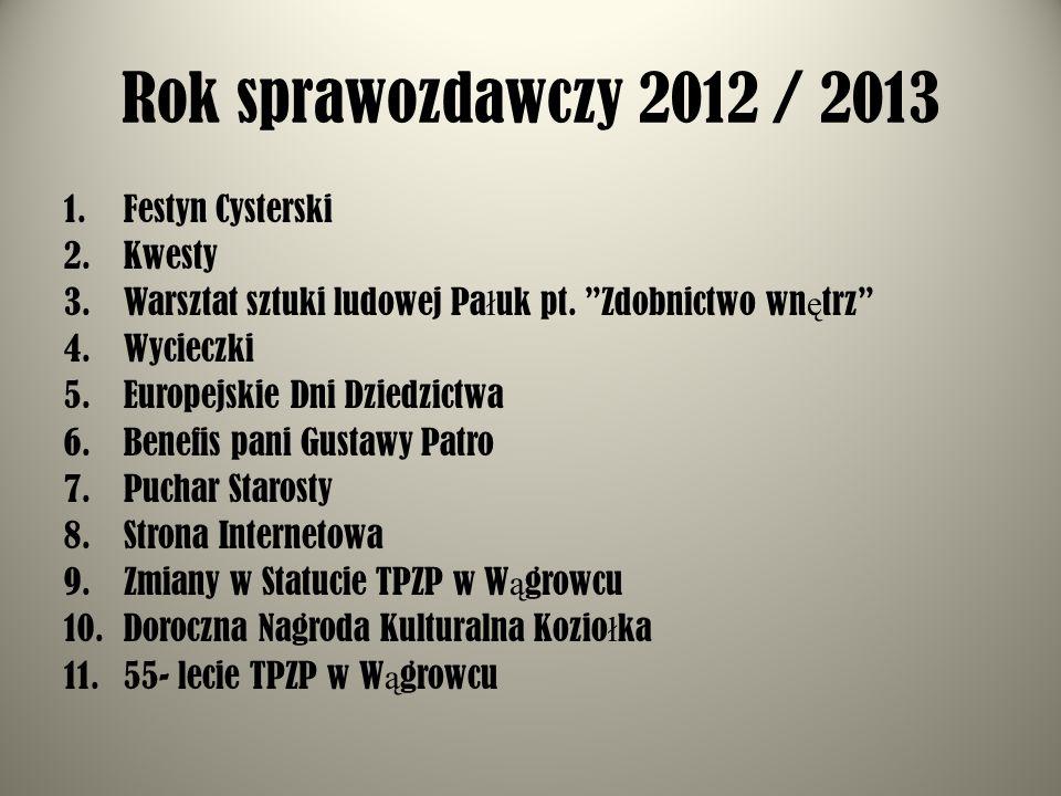 Nagroda - Towarzystwa Przyjació ł Ziemi Pa ł uckiej dla laureata XI Powiatowego Konkursu Wiedzy o Cystersach Wycieczka do Osieka i Piły, która odbędzie się dnia 15 września 2012 r.