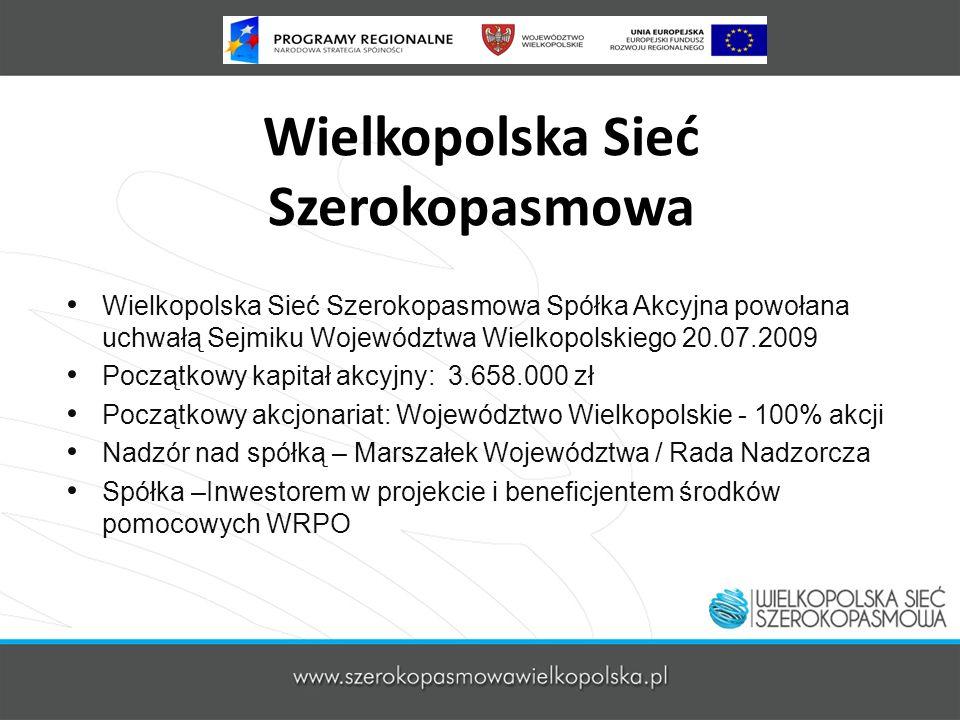 Wielkopolska Sieć Szerokopasmowa Wielkopolska Sieć Szerokopasmowa Spółka Akcyjna powołana uchwałą Sejmiku Województwa Wielkopolskiego 20.07.2009 Począ
