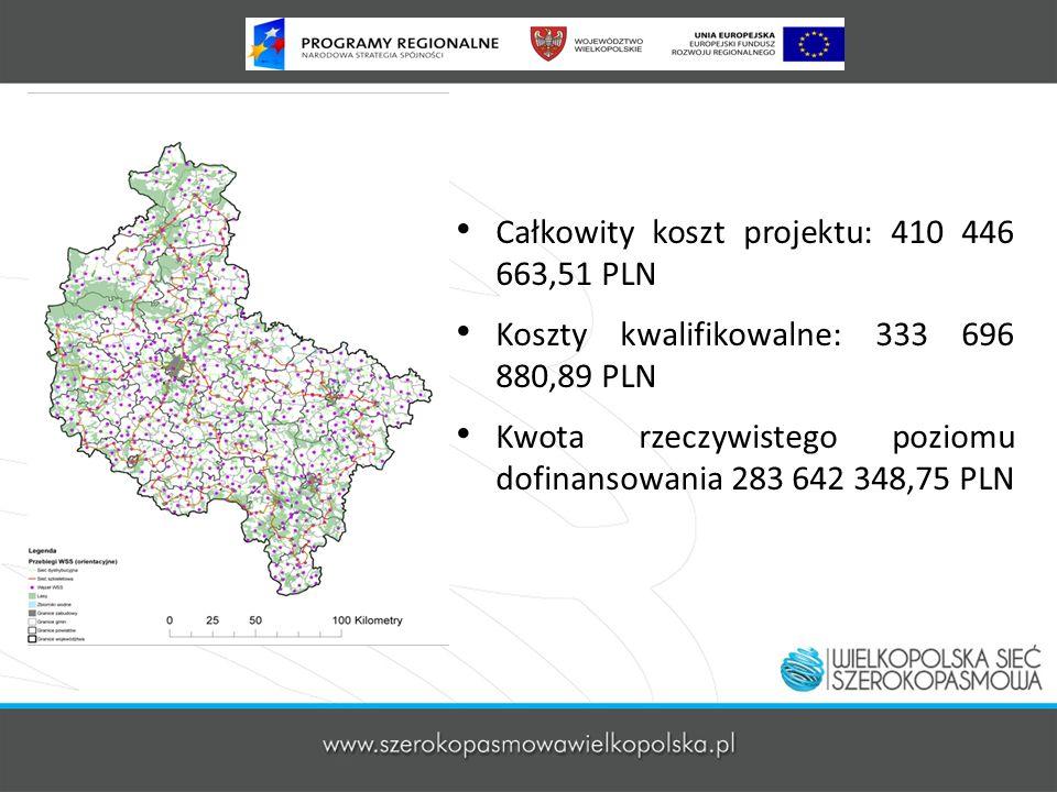 Całkowity koszt projektu: 410 446 663,51 PLN Koszty kwalifikowalne: 333 696 880,89 PLN Kwota rzeczywistego poziomu dofinansowania 283 642 348,75 PLN