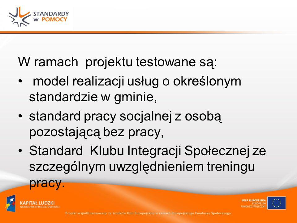 W ramach projektu testowane są: model realizacji usług o określonym standardzie w gminie, standard pracy socjalnej z osobą pozostającą bez pracy, Standard Klubu Integracji Społecznej ze szczególnym uwzględnieniem treningu pracy.