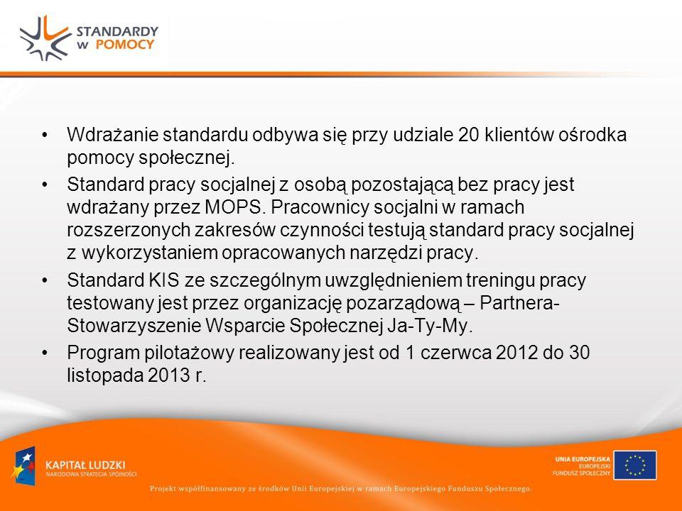 Wdrażanie standardu odbywa się przy udziale 20 klientów ośrodka pomocy społecznej. Standard pracy socjalnej z osobą pozostającą bez pracy jest wdrażan