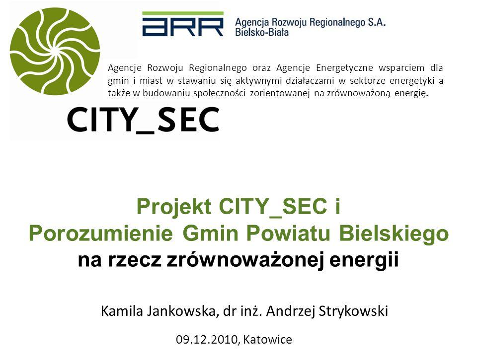 Projekt CITY_SEC i Porozumienie Gmin Powiatu Bielskiego na rzecz zrównoważonej energii 09.12.2010, Katowice Agencje Rozwoju Regionalnego oraz Agencje Energetyczne wsparciem dla gmin i miast w stawaniu się aktywnymi działaczami w sektorze energetyki a także w budowaniu społeczności zorientowanej na zrównoważoną energię.