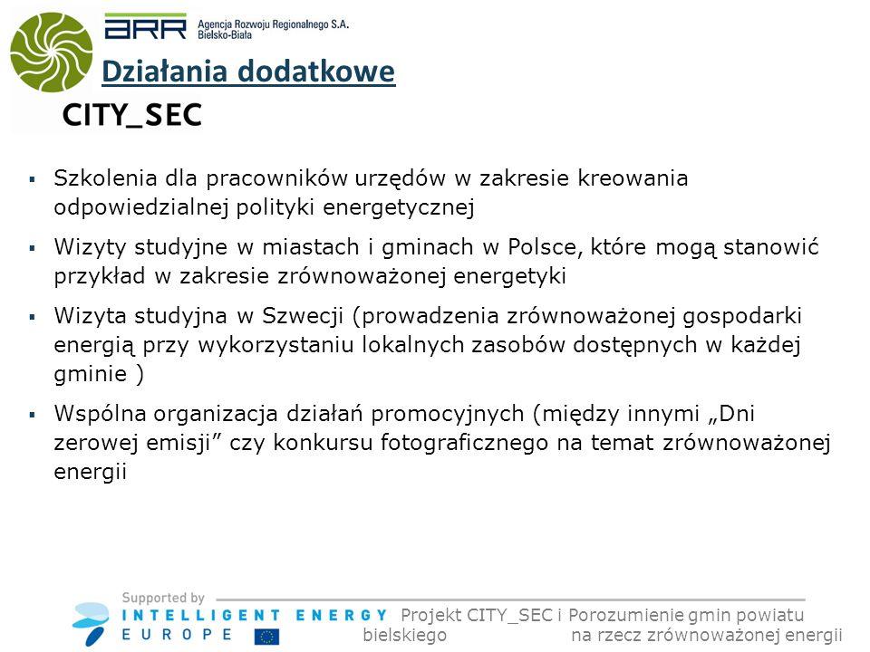 Szkolenia dla pracowników urzędów w zakresie kreowania odpowiedzialnej polityki energetycznej Wizyty studyjne w miastach i gminach w Polsce, które mogą stanowić przykład w zakresie zrównoważonej energetyki Wizyta studyjna w Szwecji (prowadzenia zrównoważonej gospodarki energią przy wykorzystaniu lokalnych zasobów dostępnych w każdej gminie ) Wspólna organizacja działań promocyjnych (między innymi Dni zerowej emisji czy konkursu fotograficznego na temat zrównoważonej energii Działania dodatkowe Projekt CITY_SEC i Porozumienie gmin powiatu bielskiego na rzecz zrównoważonej energii