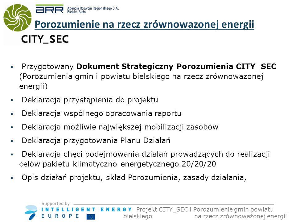 Przygotowany Dokument Strategiczny Porozumienia CITY_SEC (Porozumienia gmin i powiatu bielskiego na rzecz zrównoważonej energii) Deklaracja przystąpienia do projektu Deklaracja wspólnego opracowania raportu Deklaracja możliwie największej mobilizacji zasobów Deklaracja przygotowania Planu Działań Deklaracja chęci podejmowania działań prowadzących do realizacji celów pakietu klimatyczno-energetycznego 20/20/20 Opis działań projektu, skład Porozumienia, zasady działania, Projekt CITY_SEC i Porozumienie gmin powiatu bielskiego na rzecz zrównoważonej energii Porozumienie na rzecz zrównowazonej energii