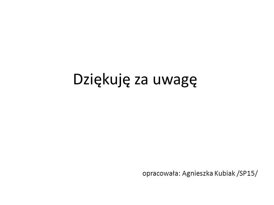 Dziękuję za uwagę opracowała: Agnieszka Kubiak /SP15/