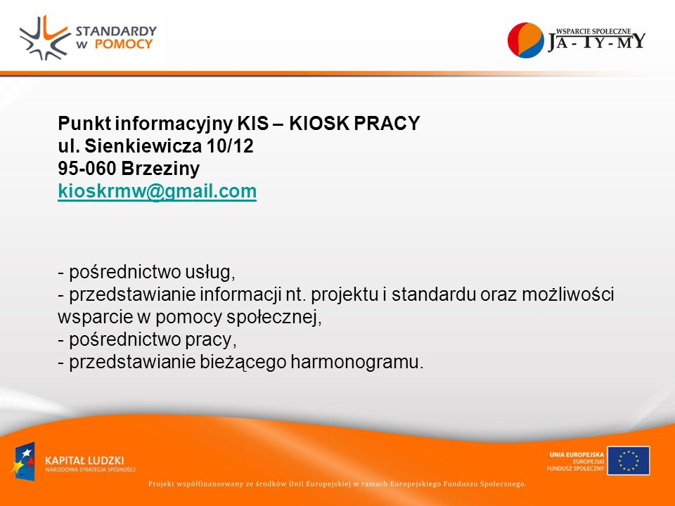Punkt informacyjny KIS – KIOSK PRACY ul.