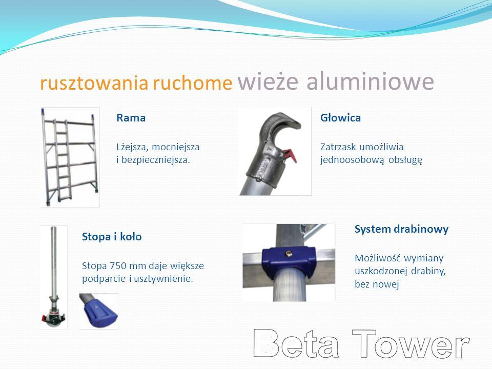rusztowania ruchome wieże aluminiowe Rama Lżejsza, mocniejsza i bezpieczniejsza. Głowica Zatrzask umożliwia jednoosobową obsługę. Stopa i koło Stopa 7