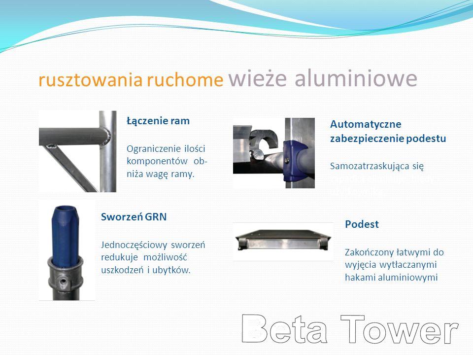 rusztowania ruchome wieże aluminiowe Łączenie ram Ograniczenie ilości komponentów ob- niża wagę ramy. Sworzeń GRN Jednoczęściowy sworzeń redukuje możl