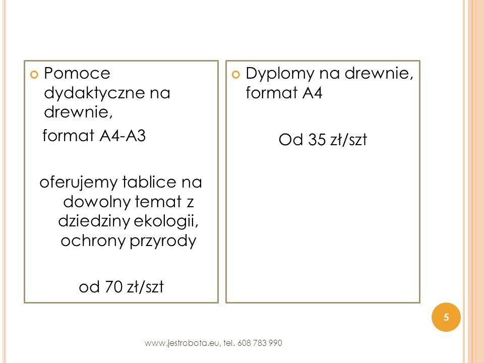 Pomoce dydaktyczne na drewnie, format A4-A3 oferujemy tablice na dowolny temat z dziedziny ekologii, ochrony przyrody od 70 zł/szt Dyplomy na drewnie, format A4 Od 35 zł/szt 5 www.jestrobota.eu, tel.