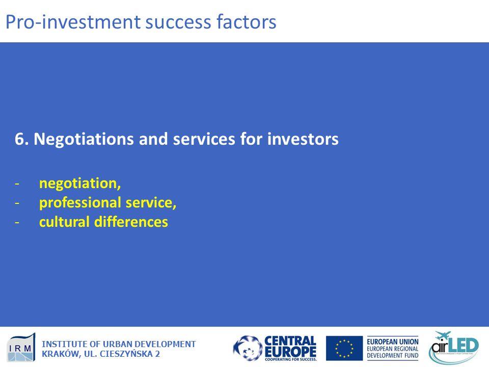 INSTITUTE OF URBAN DEVELOPMENT KRAKÓW, UL. CIESZYŃSKA 2 6. Negotiations and services for investors -negotiation, -professional service, -cultural diff