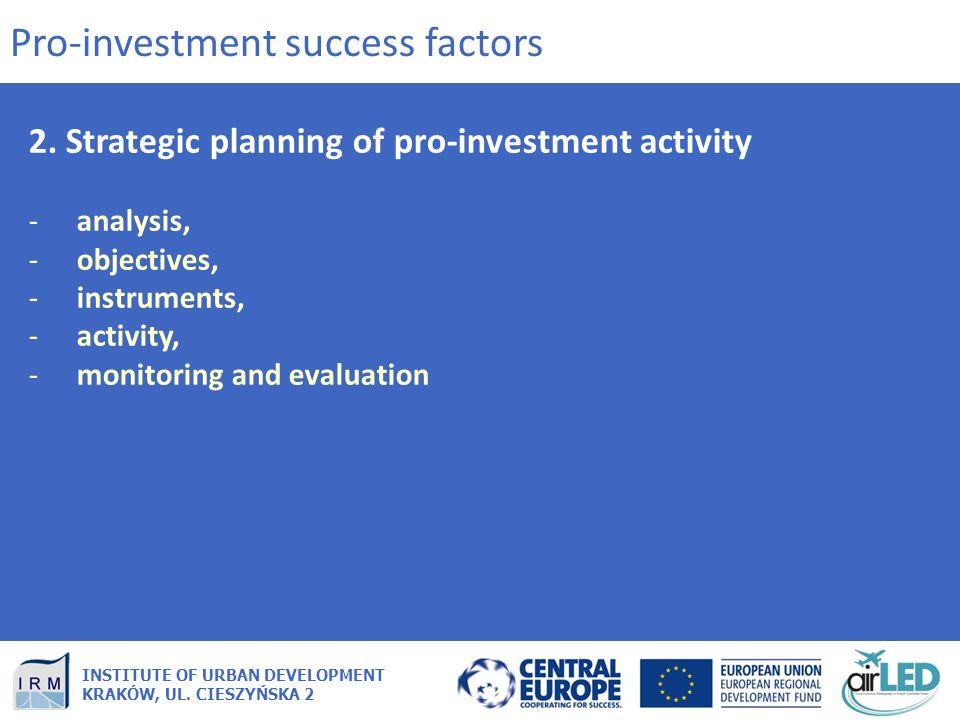 INSTITUTE OF URBAN DEVELOPMENT KRAKÓW, UL. CIESZYŃSKA 2 2. Strategic planning of pro-investment activity -analysis, -objectives, -instruments, -activi
