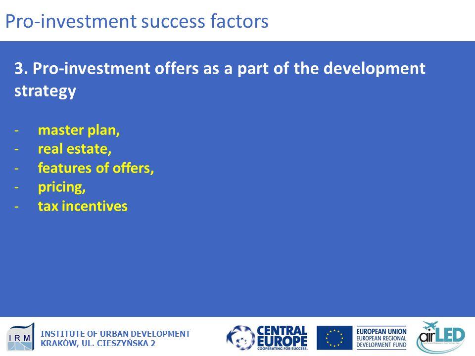 INSTITUTE OF URBAN DEVELOPMENT KRAKÓW, UL. CIESZYŃSKA 2 3. Pro-investment offers as a part of the development strategy -master plan, -real estate, -fe