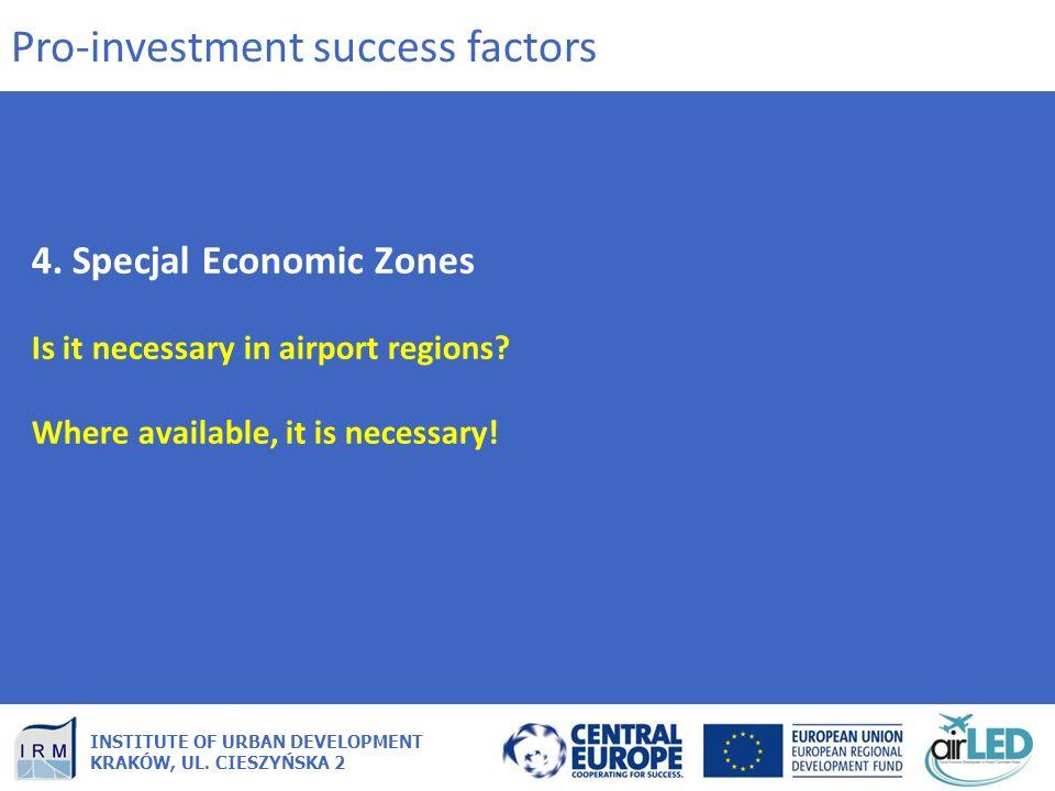 INSTITUTE OF URBAN DEVELOPMENT KRAKÓW, UL. CIESZYŃSKA 2 4. Specjal Economic Zones Is it necessary in airport regions? Where available, it is necessary
