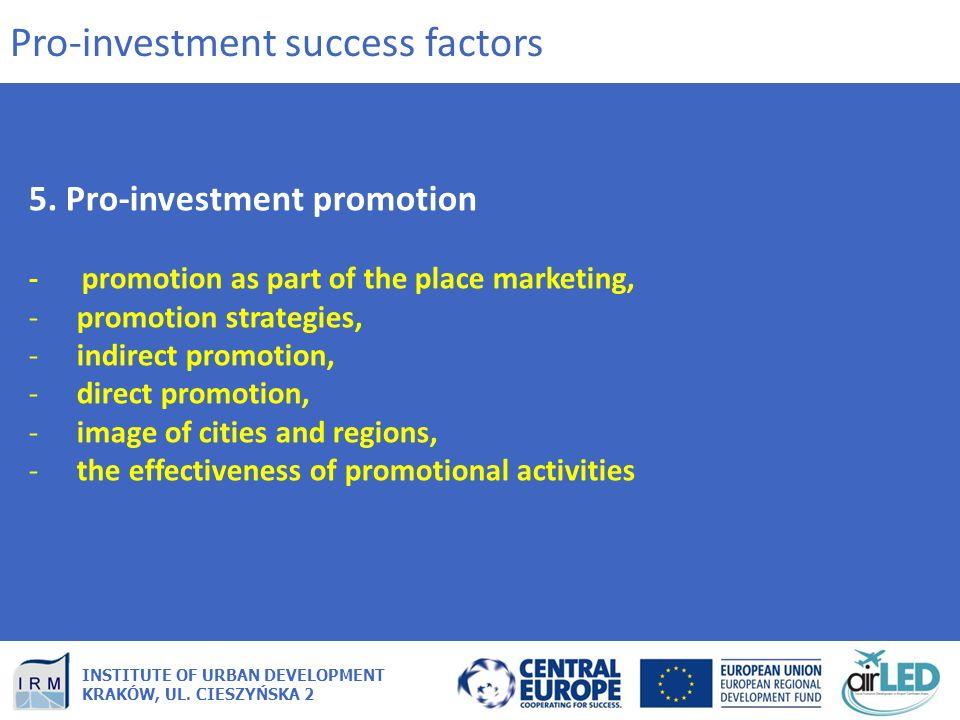 INSTITUTE OF URBAN DEVELOPMENT KRAKÓW, UL. CIESZYŃSKA 2 5. Pro-investment promotion - promotion as part of the place marketing, -promotion strategies,