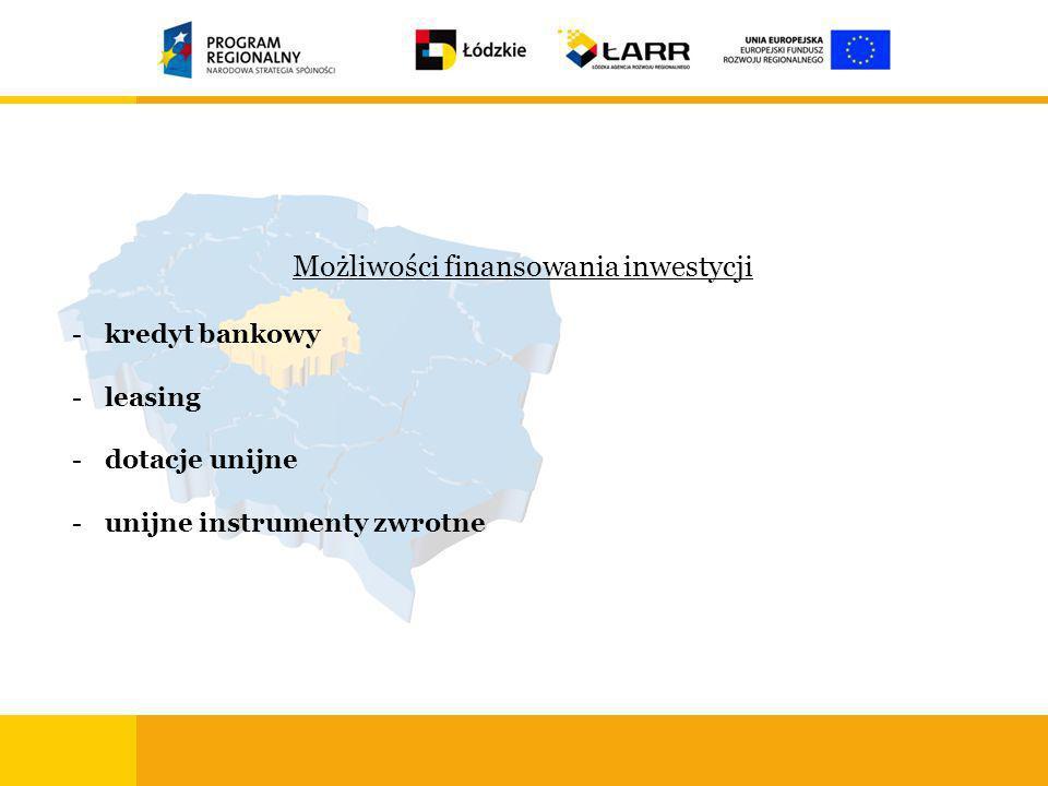 Możliwości finansowania inwestycji -kredyt bankowy -leasing -dotacje unijne -unijne instrumenty zwrotne