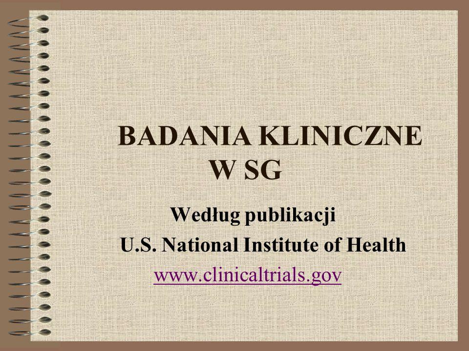 BADANIA KLINICZNE W SG Według publikacji U.S. National Institute of Health www.clinicaltrials.gov