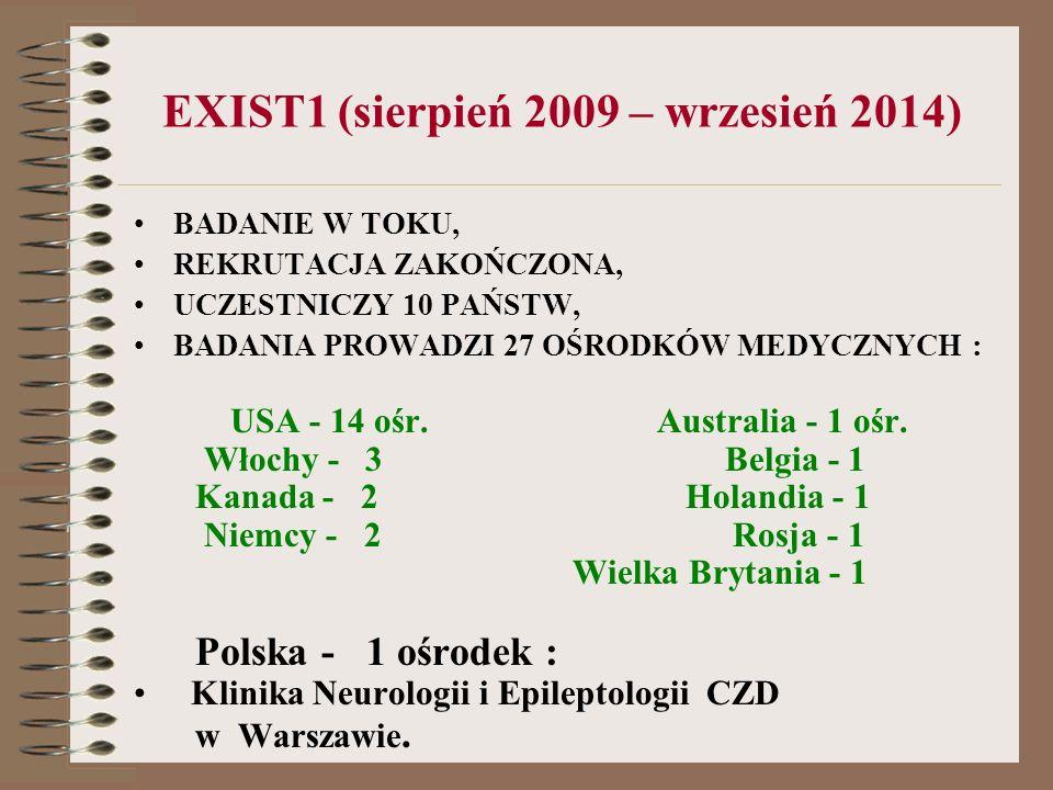 EXIST1 (sierpień 2009 – wrzesień 2014) BADANIE W TOKU, REKRUTACJA ZAKOŃCZONA, UCZESTNICZY 10 PAŃSTW, BADANIA PROWADZI 27 OŚRODKÓW MEDYCZNYCH : USA - 1