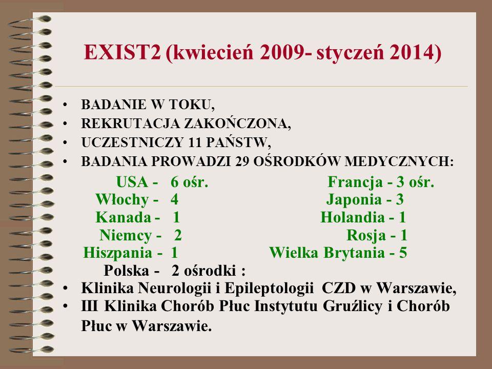 EXIST2 (kwiecień 2009- styczeń 2014) BADANIE W TOKU, REKRUTACJA ZAKOŃCZONA, UCZESTNICZY 11 PAŃSTW, BADANIA PROWADZI 29 OŚRODKÓW MEDYCZNYCH: USA - 6 oś