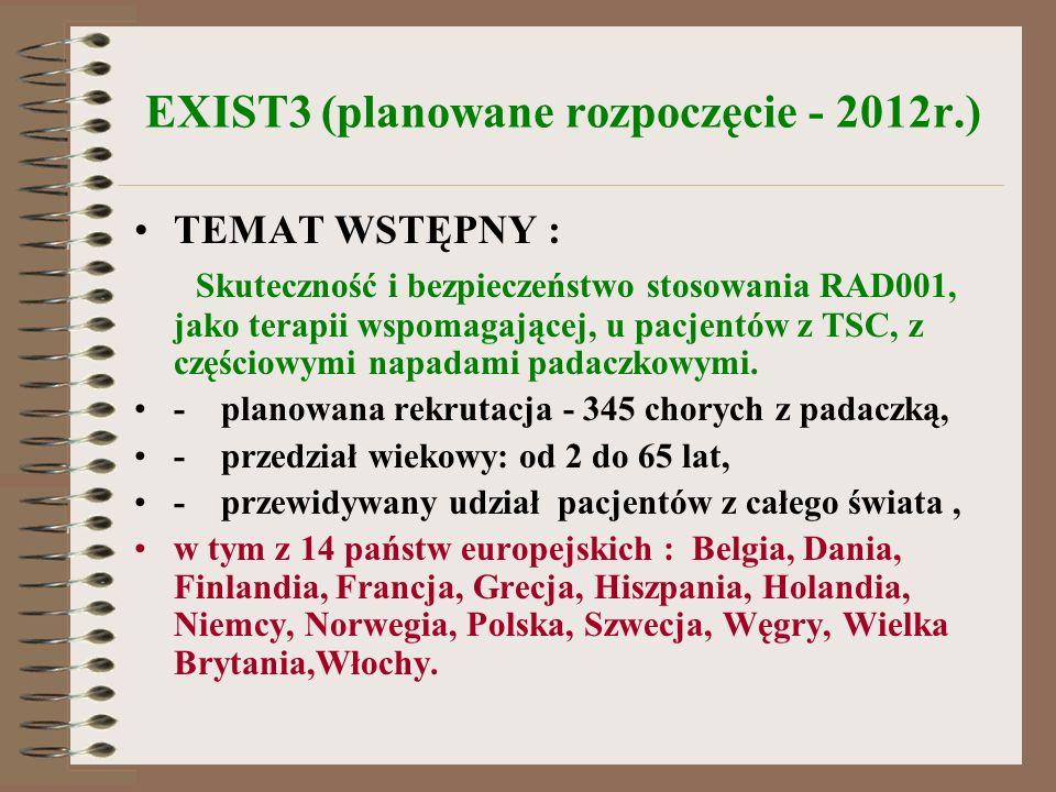 EXIST3 (planowane rozpoczęcie - 2012r.) TEMAT WSTĘPNY : Skuteczność i bezpieczeństwo stosowania RAD001, jako terapii wspomagającej, u pacjentów z TSC,