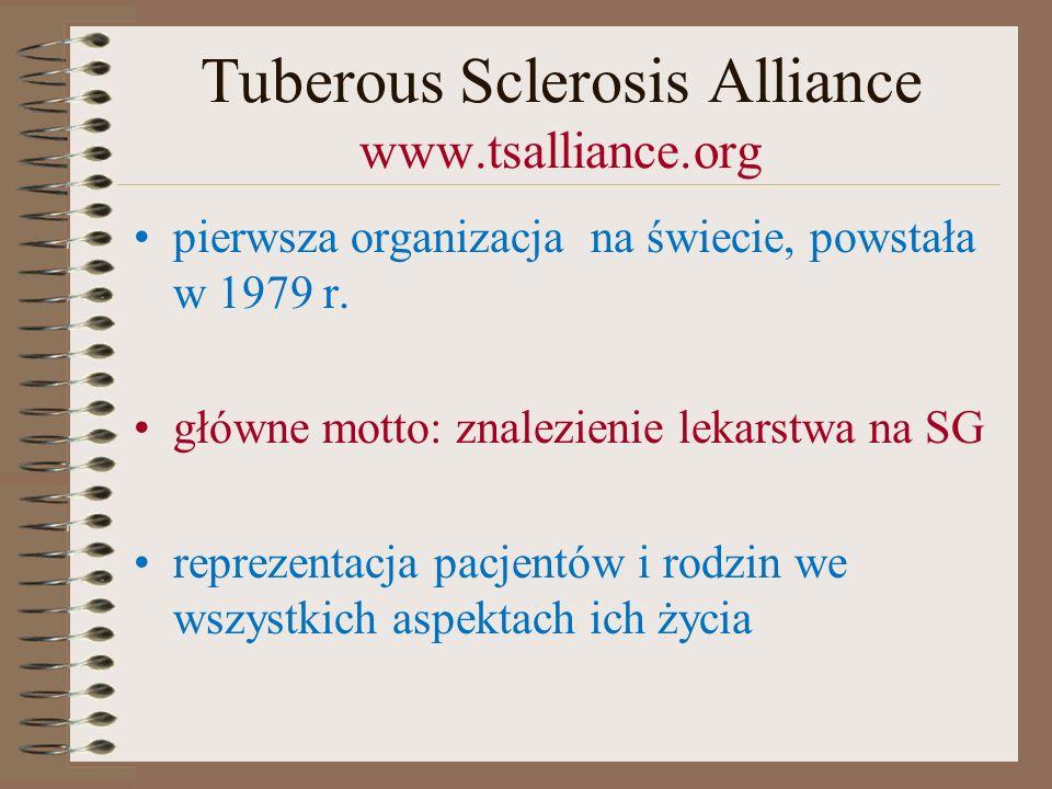 Tuberous Sclerosis Alliance www.tsalliance.org pierwsza organizacja na świecie, powstała w 1979 r. główne motto: znalezienie lekarstwa na SG reprezent