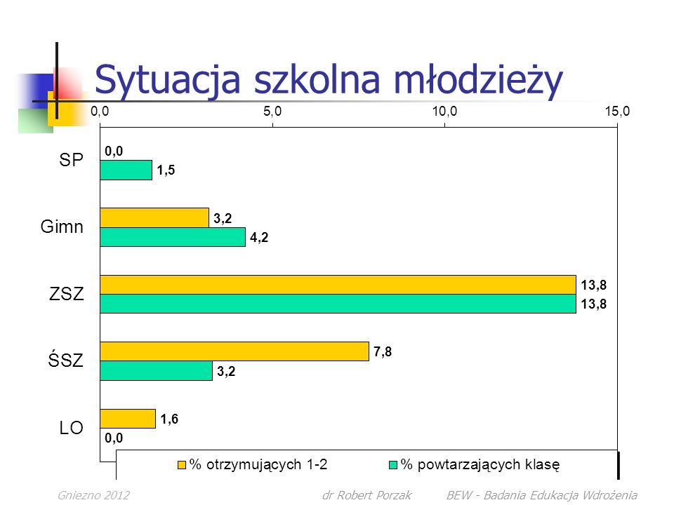 Gniezno 2012dr Robert Porzak BEW - Badania Edukacja Wdrożenia Sytuacja szkolna młodzieży