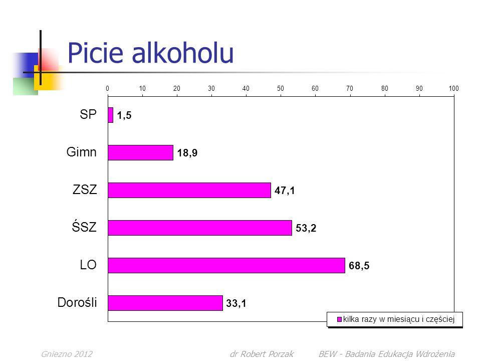 Gniezno 2012dr Robert Porzak BEW - Badania Edukacja Wdrożenia Picie alkoholu