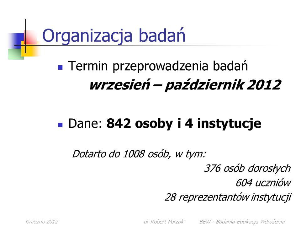 Gniezno 2012dr Robert Porzak BEW - Badania Edukacja Wdrożenia Organizacja badań Termin przeprowadzenia badań wrzesień – październik 2012 Dane: 842 osoby i 4 instytucje Dotarto do 1008 osób, w tym: 376 osób dorosłych 604 uczniów 28 reprezentantów instytucji